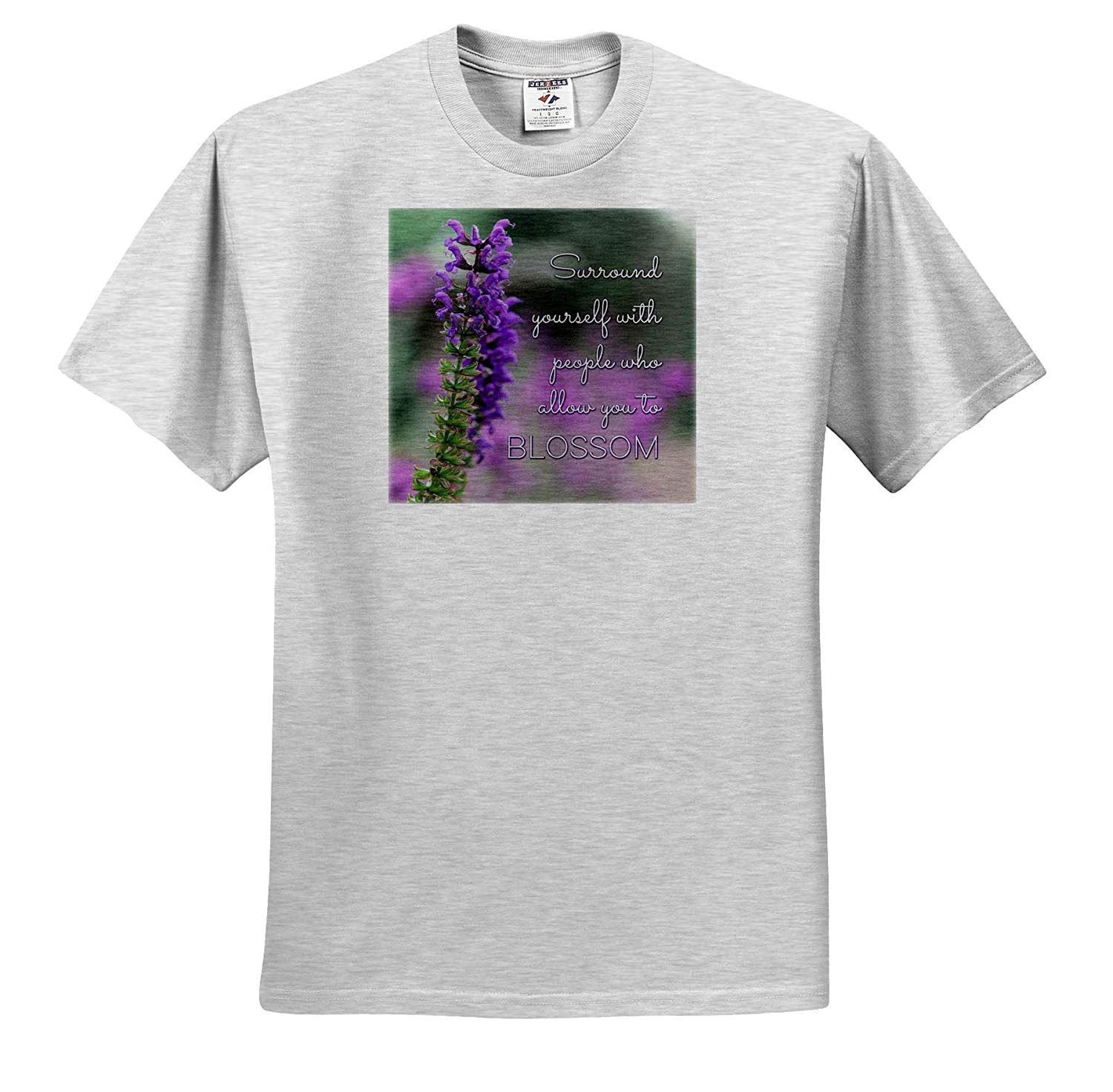 3dRose Stamp City - T-Shirts Surround Yourself with People who Allow You to Blossom Typography Salvia Plant