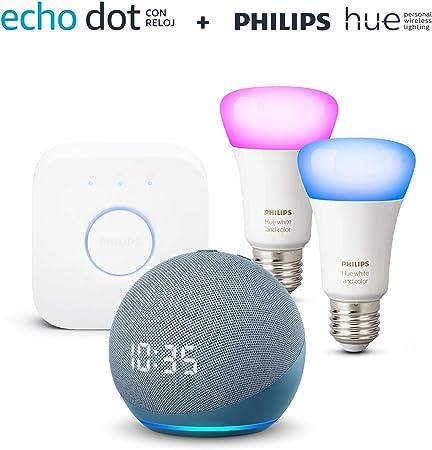 Nuevo Echo Dot (4.ª generación) con reloj, Azul grisáceo + Philips Hue Bombilla Inteligente St...