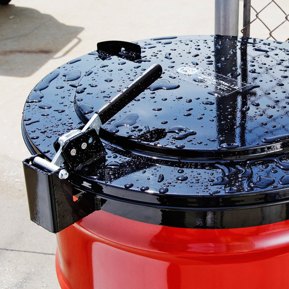 For 55 Gallon Steel Drums Outdoor Use Black DRM1111-BK New Pig Outdoor Latching Drum Lid with Fast-Latch Ring 28 L x 25 W x 6 H