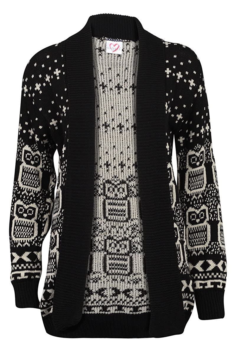 Forever Women\u0027s Long Sleeve Owl Print Knit Cardigan at Amazon Women\u0027s  Clothing store