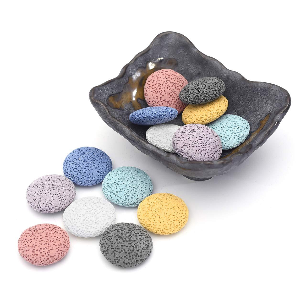 Top Plaza Lava Rock Stone Aromatherapy Essential Oil Diffuser Set Square Ceramic Fragrance Perfume Ware Bowl with 14Pcs Round Shape Lava Stone Beads