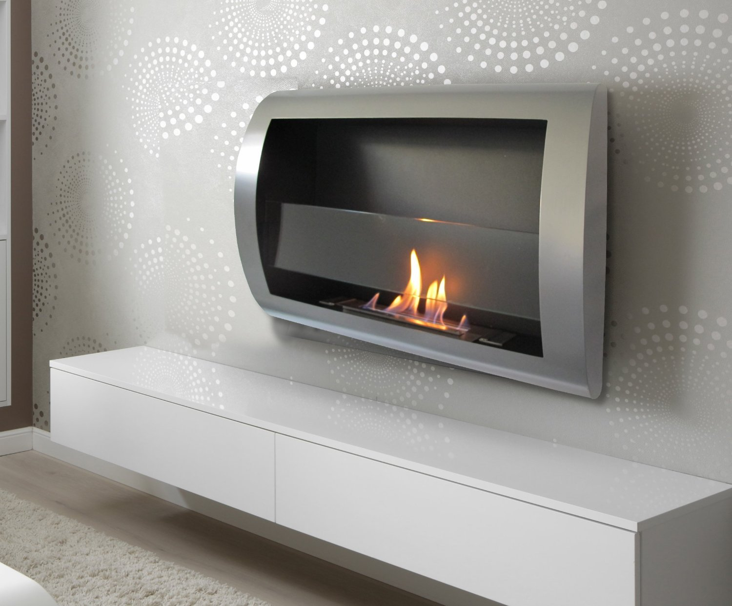 Chic Fireplaces Charleston Wall Mount Ventless Bio Ethanol Fireplace with Burner Insert, Grey Metal by Chic Fireplaces