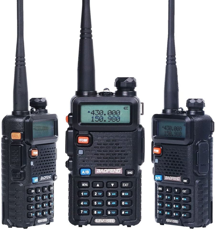BaoFeng Radio UV-5R Dual Band Two Way Radio 6 Pack 6 NA-771 Antennas and Speaker Mics 12 1800mah Batteries 1 Programming Cable Baofeng Walkie Talkie Ham Radio