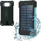 Iyowin Solar Ladegerät 15000mAh Duale USB Anschlüsse Solar Charger Wasserdicht und Stoßfest Solar Externe Akku Portable Power Bank für iPhone, iPad, Samsung, Tablet etc(Blau)