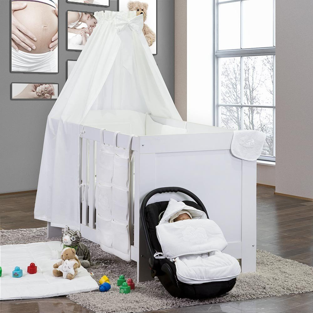 5-tlg. Babybettset Sleeping Bear in Weiß