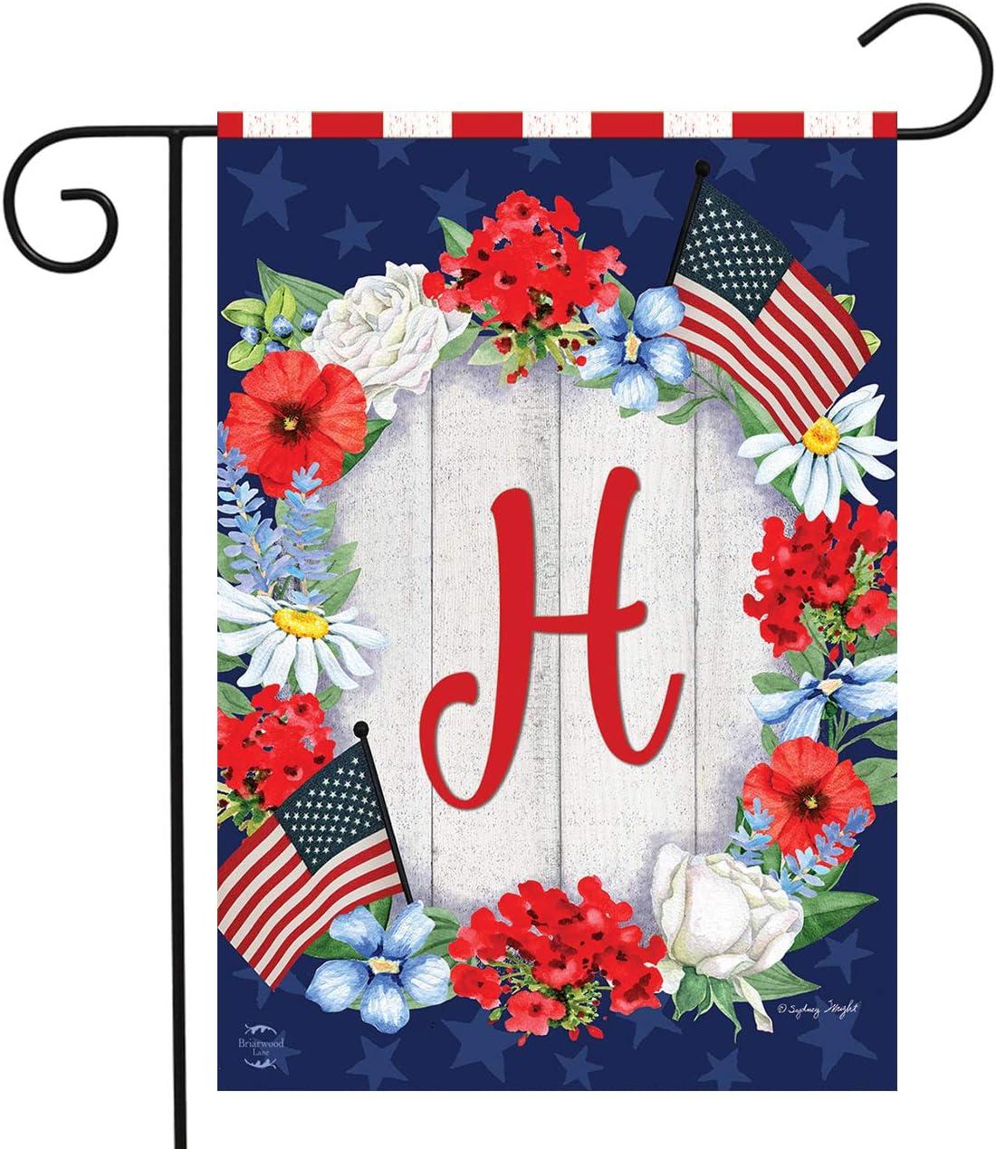 "Briarwood Lane Patriotic Monogram Letter H Garden Flag Floral Wreath 12.5"" x 18"""