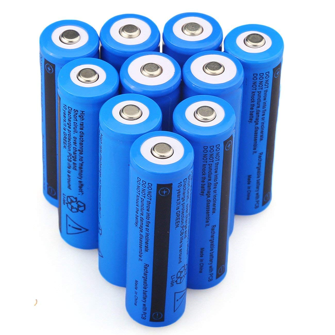 Hecloud 8pcs Rechargeable 18650 Battery With 2pc Dual How To Make A Led Flashlight Bulb 8211 For 2 15 Volt Batterie 10pcs 37v 3000mah Batteries Flashlightnot Aa Not Flat