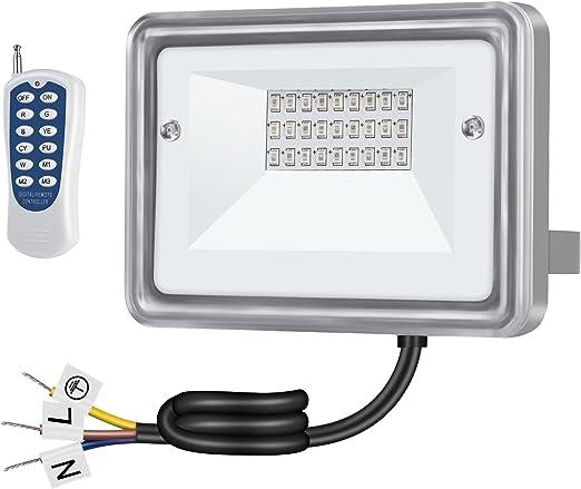 Gosun 10W Foco LED RGB con control remoto, AC100-265V, 7 colores 3 ...