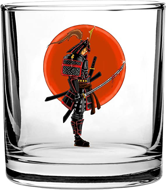 Japanese Warrior Samurai w/Bloody Sword - 3D Color Printed Scotch Whiskey Glass 10.5 oz