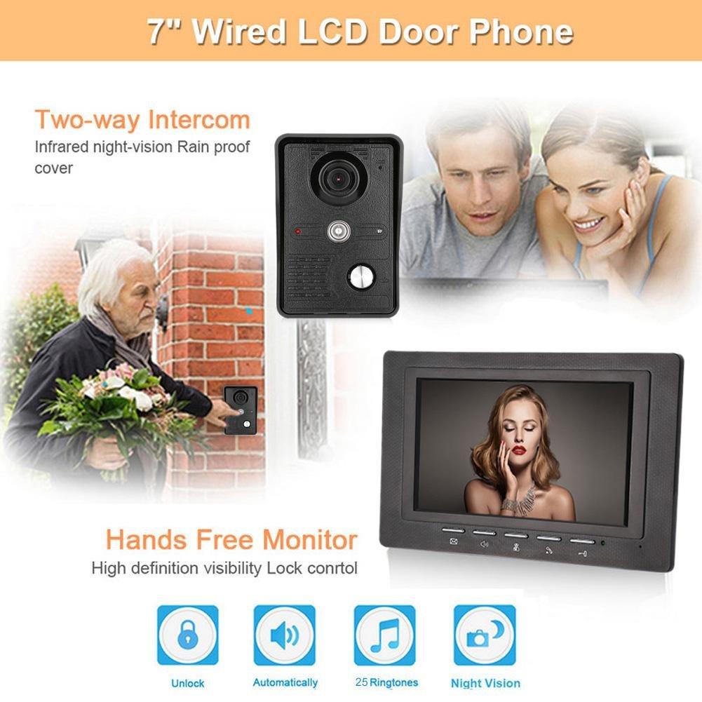 Awakingdemi 7 Inch Video Door Phone Doorbell Intercom 1-camera 1-monitor Night Vision by Awakingdemi (Image #4)