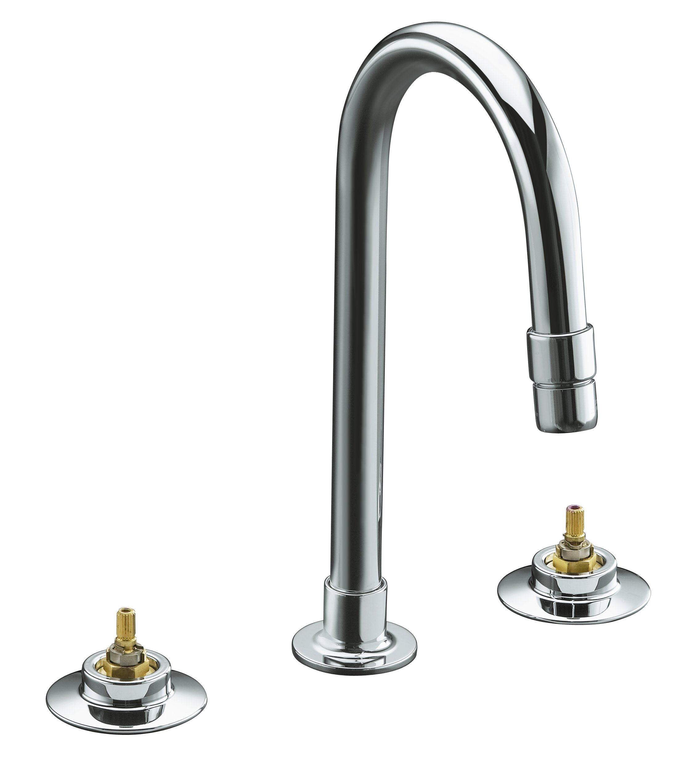 KOHLER K-7303-KE-CP Triton Widespread Lavatory Faucet with Vandal-Resistant Aerator and Rigid Connections, Requires Handles, Polished Chrome