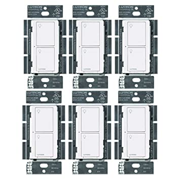 Lutron PD-6ANS-WH Caseta Wireless Smart Lighting Switch for All Bulb Types and Fans (White, 6 Pack) - - Amazon.com