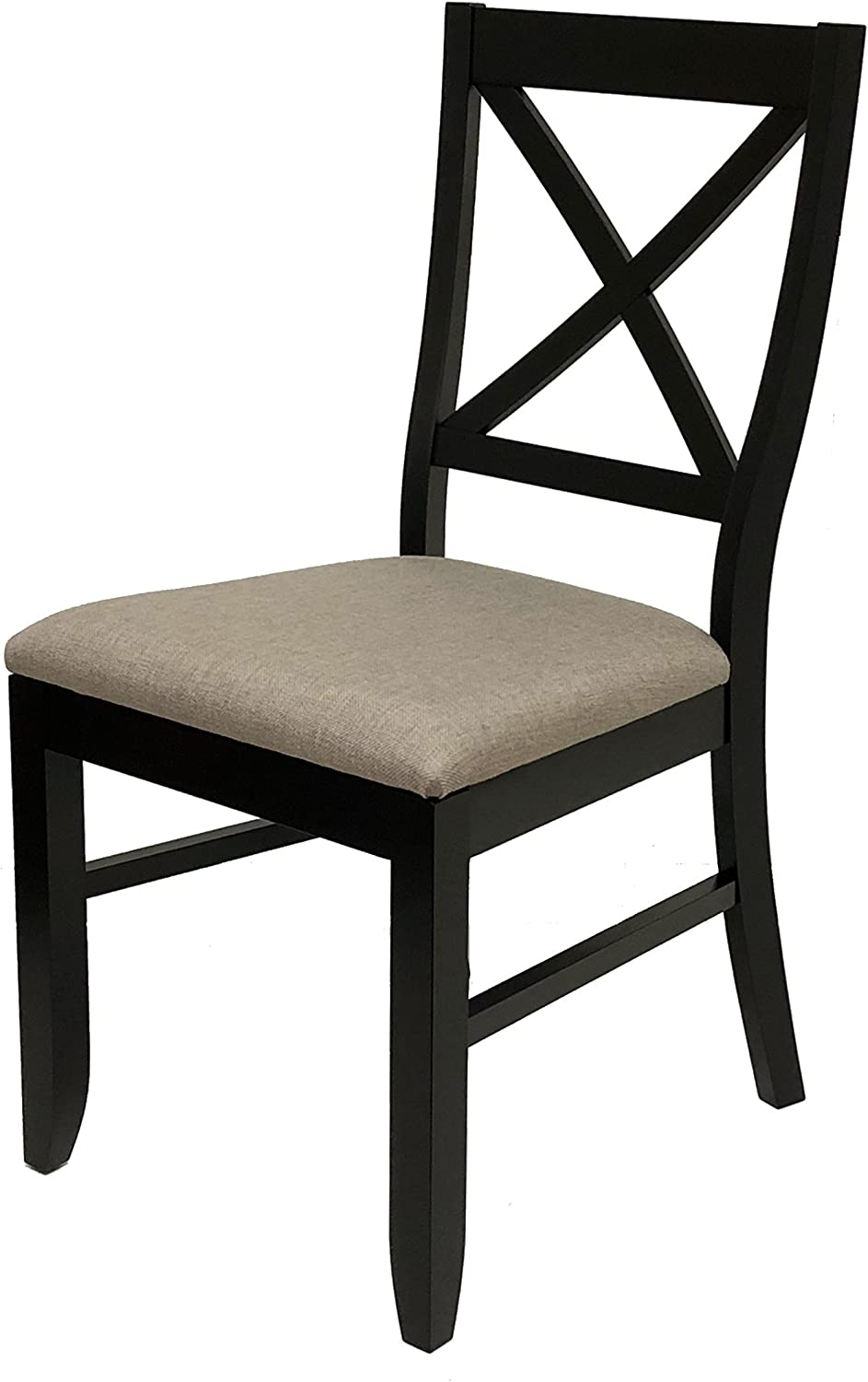 Everhome Designs – Lara Solid Wood Cross Back Dining Side Chair Set of 2 Espresso