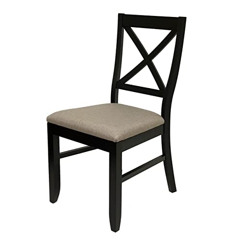 Everhome Designs – Lara Solid Wood Cross Back Dining Side Chair Set of 2 Espresso
