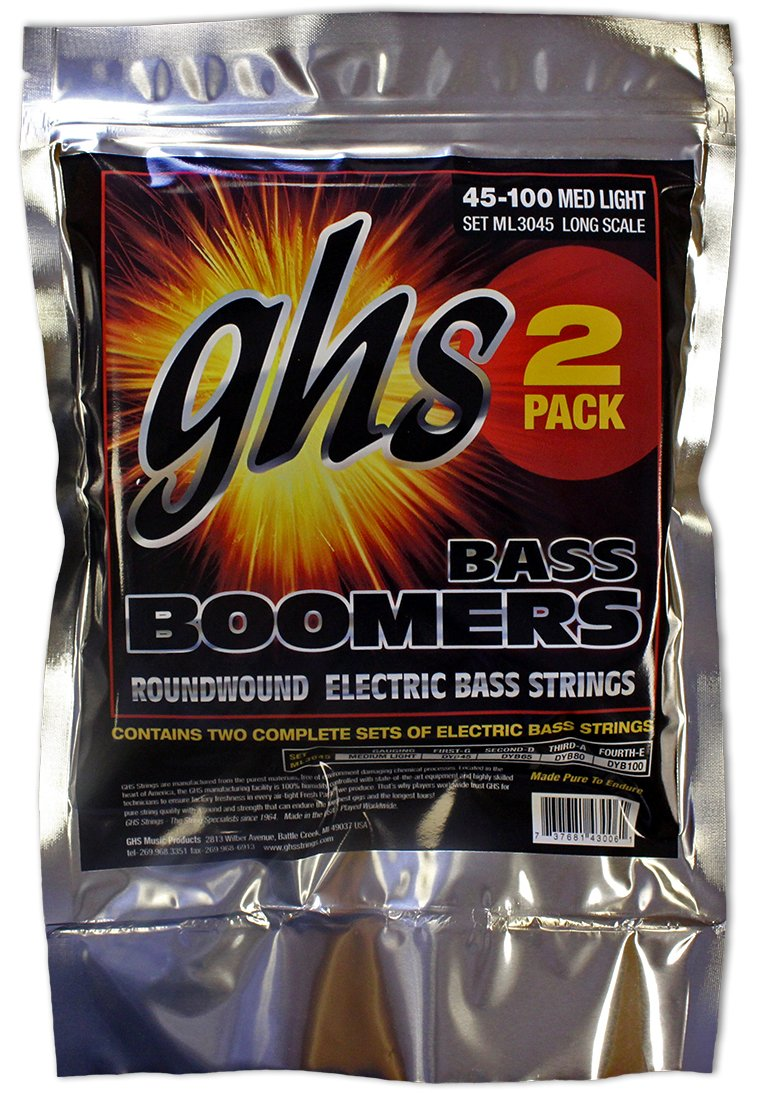 Nickel-Plated Electric Bass Strings Long Scale .040-.095 GHS Strings L3045 4-String Bass Boomers Light