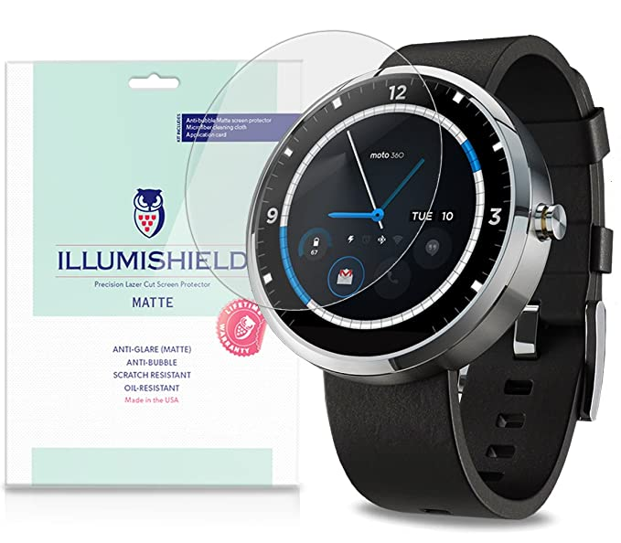 iLLumiShield Matte Anti-Glare Screen Protector For Motorola Moto 360 Android Smartwatch [3-Pack]