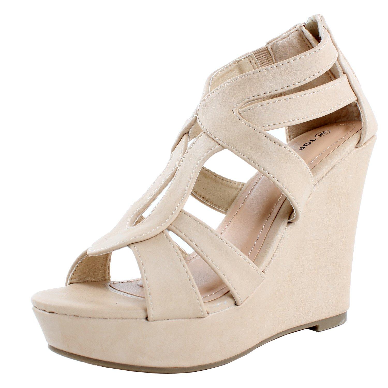 Top Moda Womens Lindy-88 Platform Sandals B00UMA1L88 9 B(M) US|Beige