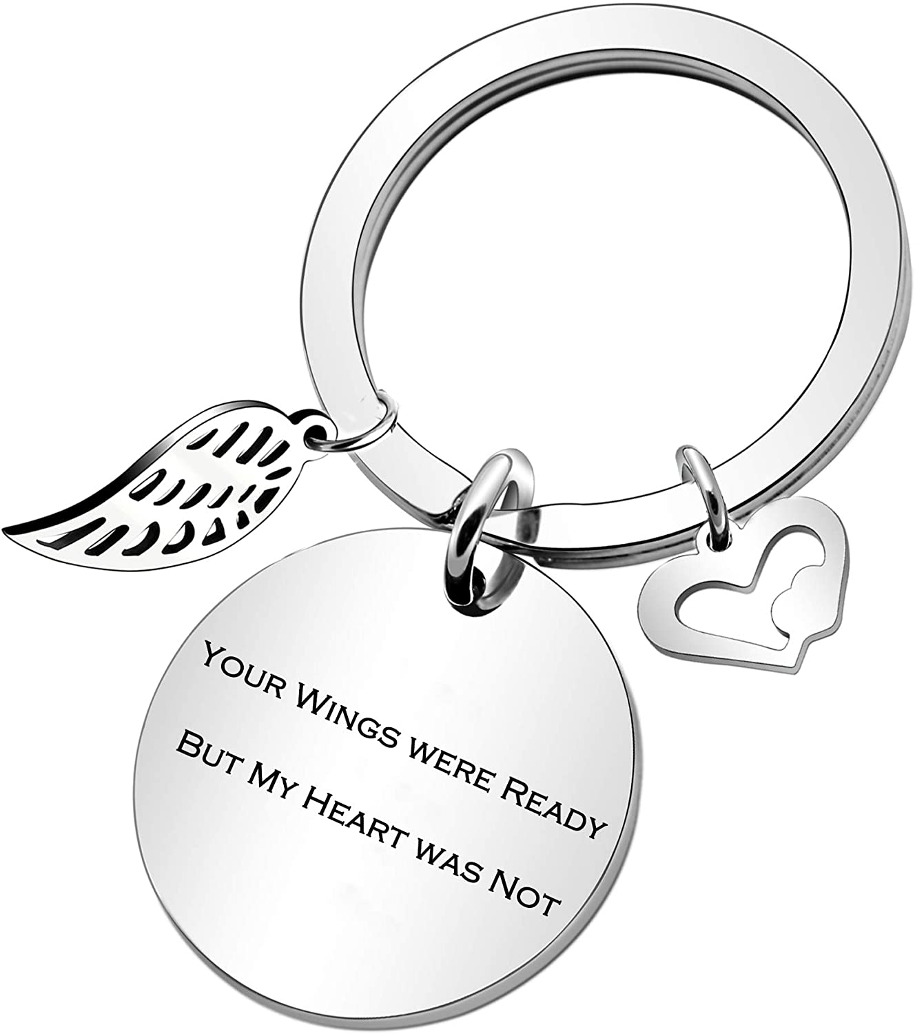 Remembrance Key Ring Your Wings were Ready But My Heart was Not Loved One Memorial Keyring Memorial Keyring Loss of A Loved One Memorial Key Chain Sympathy Gift