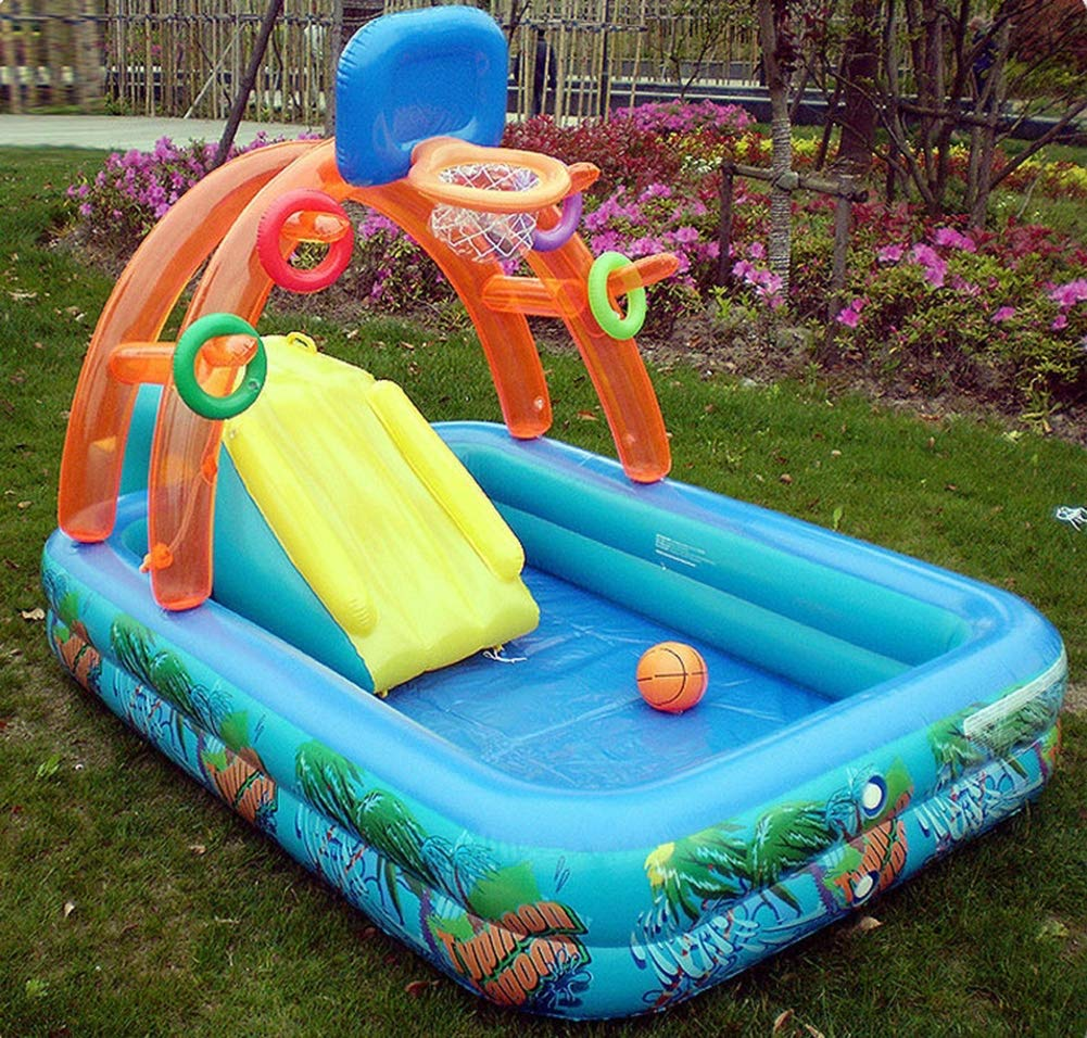Uhruolo Inflatable Paddling Pool,Water Games Centre with Slide for Kids Slide by Uhruolo (Image #2)