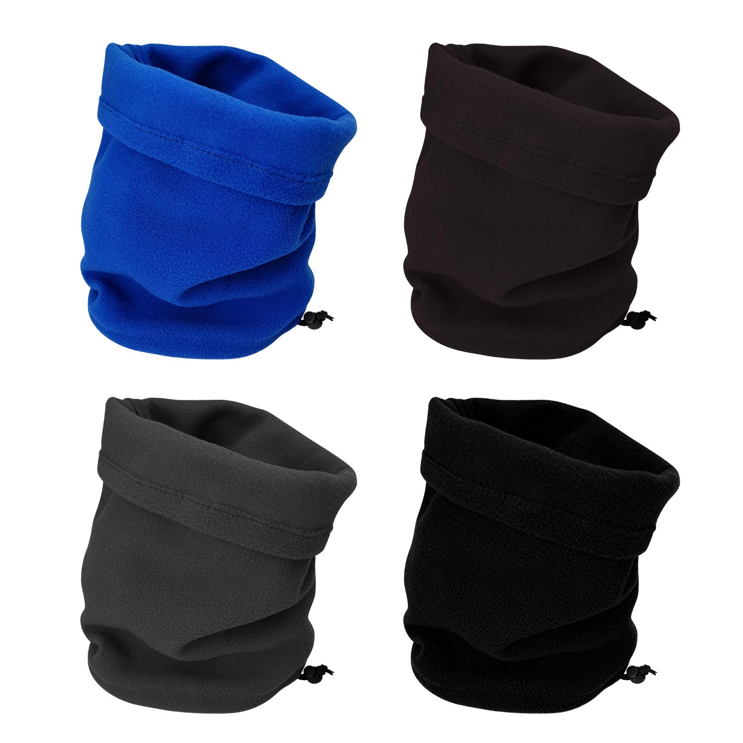 CODOHI 4 Packs Fleece Neck Warmer Windproof Snood Neck Gaiter for Men Women Head Scarf Face Mask for Skiing Hiking Cycling Climbing