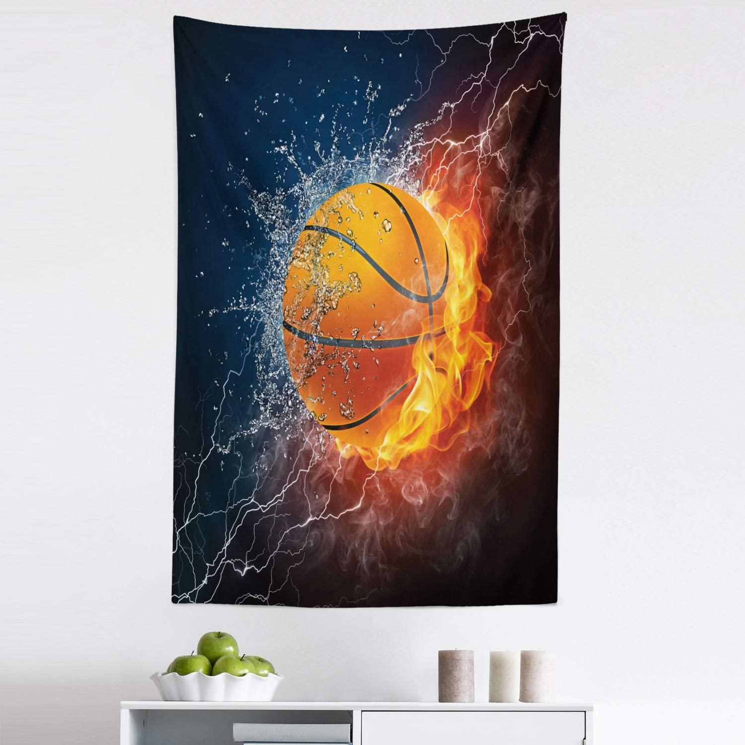 """Lunarable Sports Tapestry, Basketball Ball on Fire and Water Flame Splashing Thunder Lightning, Fabric Wall Hanging Decor for Bedroom Living Room Dorm, 30"""" X 45"""", Blue Orange"""