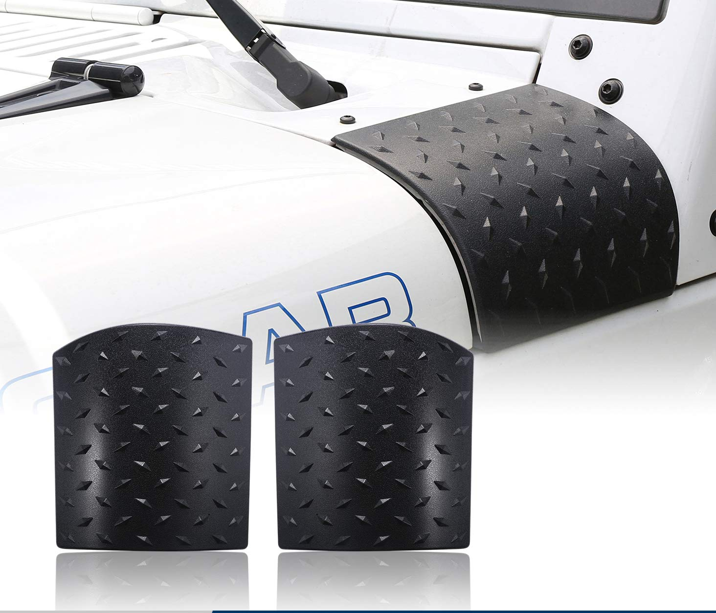 u-Box Jeep Wrangler Black Cowl Body Armor Outer Cowling Cover for 2007-2018 JK & Unlimited - Pair