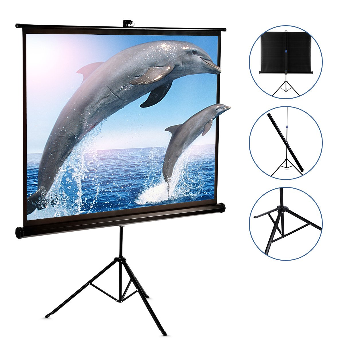 120 Inch Projector Screen with Foldable Stand Tripod, GBTIGER Diagonal HD 4:3 Pull Up Portable Indoor and Outdoor PVC Movie Screen with Wrinkle-Free Design 160° Viewing Angle by GBTIGER