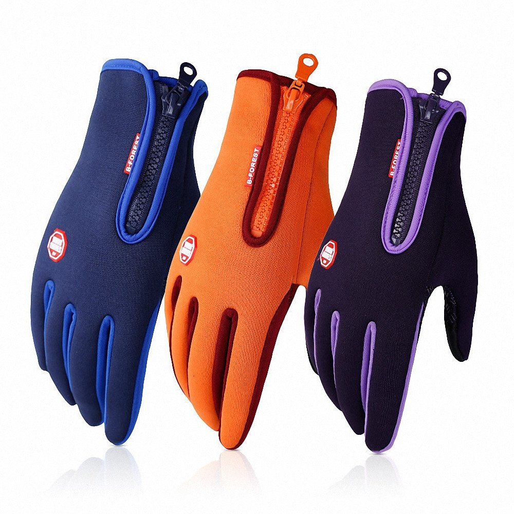 Waterproof Touchscreen Cycling Gloves Winter Warm Full Finger Outdoor Ski Snow Bike Women Men Adjustable Size Glove for Smart Phone,Black,M /Plam width:3.14in by HILEELANG (Image #8)