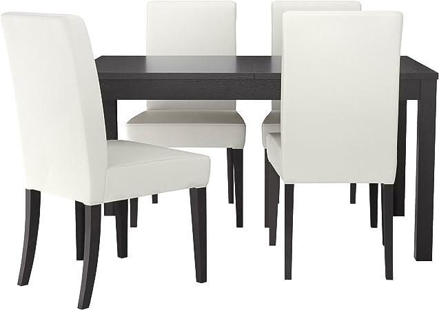 IKEA BJURSTA HENRIKSDAL Table et 4 chaises brun noir