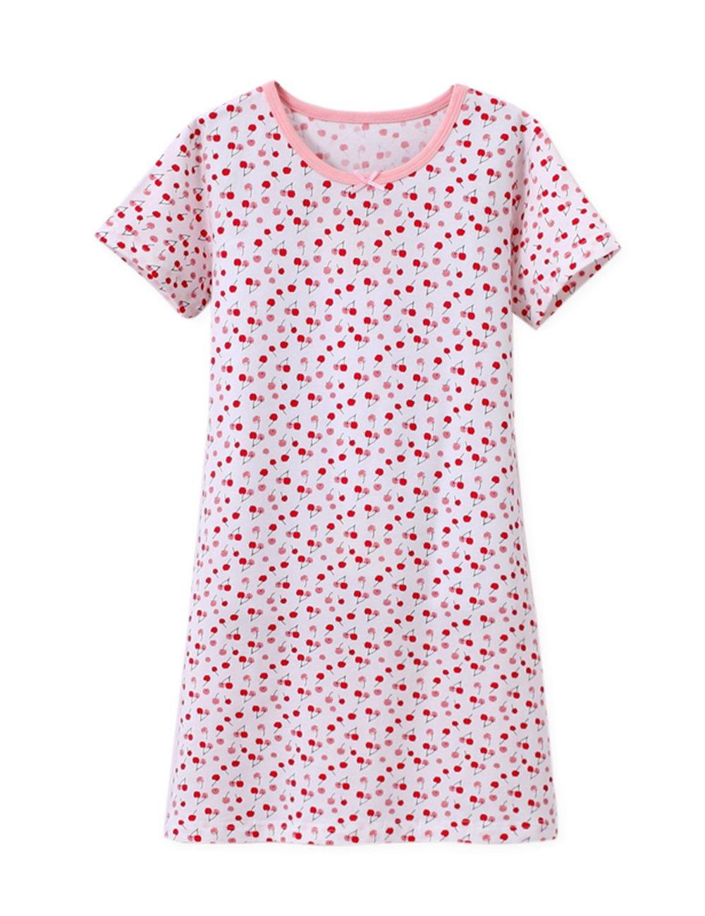 Wsorhui Girls' Princess Nightgowns Cherry Print Cute Sleep Shirts Cotton Sleepwear for 3-11 Years 9-10 Year,150 Cherry White