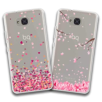 jrester 2 X Funda BQ Aquaris U2,Amor + Flor Rosa Flexible Suave Transparente TPU Gel Silicona Anti-Arañazos Smartphone Cascara Protectora para BQ ...