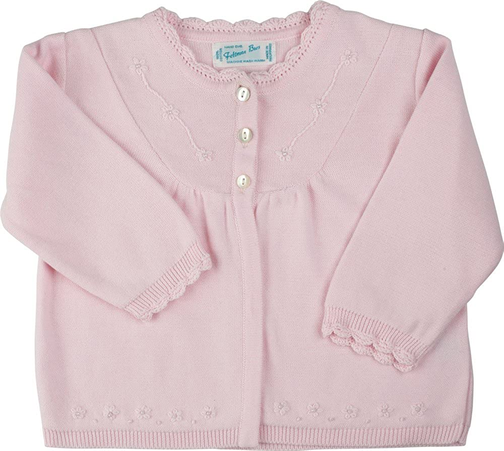 Feltman Brothers Infant Girls Pink Dressy Cardigan Sweater with Pearls