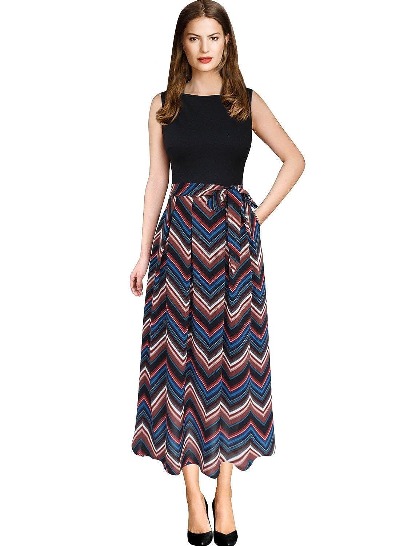 Black+multi Chevron Print 1 VFSHOW Womens Elegant Patchwork Pockets Print Work Casual ALine Midi Dress