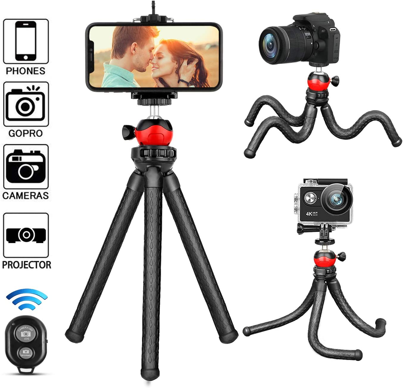 Phone Tripod,Portable and Flexible Tripod with Wireless Remote and Universal Clip, Compatible with iPhone/Android/Camera GoPro,iPhone Tripod for Live Streaming Tiktok YouTube Video Recording