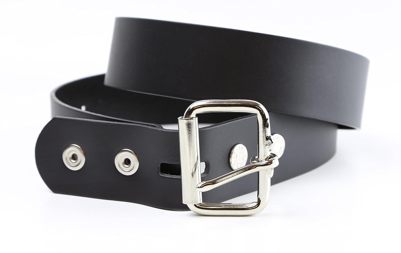 Genuine Leather Mens Heavy Duty Black Leather Belt 1 1//2 Wide