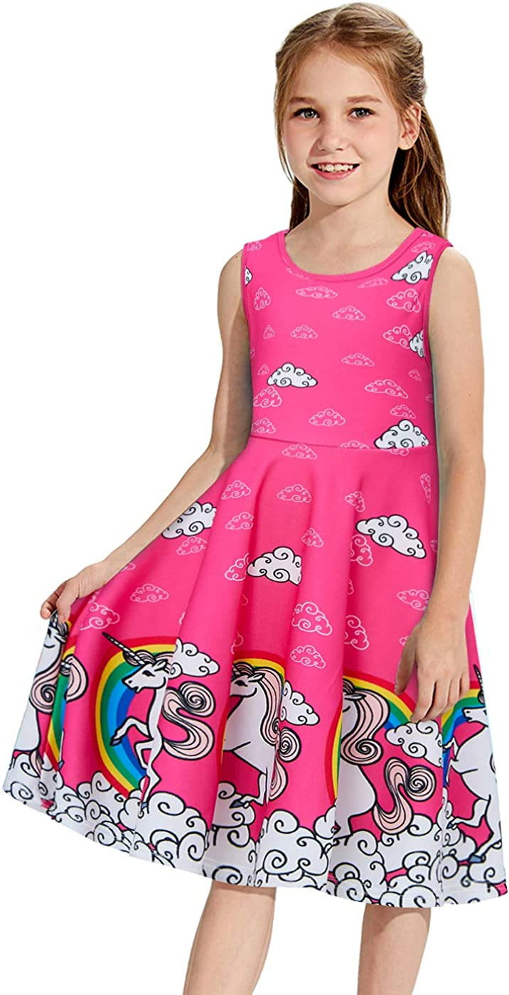 UNICOMIDEA Girl Sleeveless Dress Colorful Print Adorable Tunic Summer Swing Skirt Toddler Casual/Party Sundress 4-13 Years