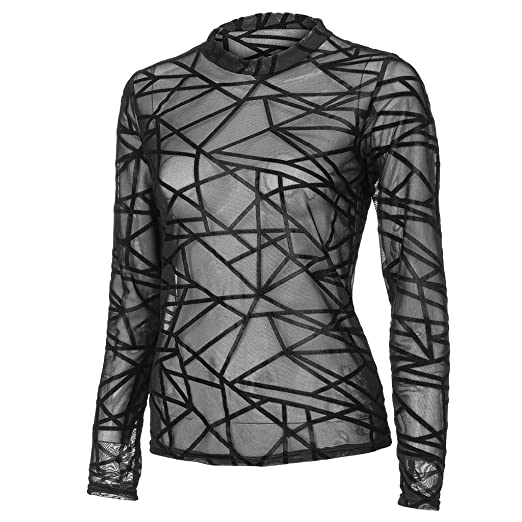 1f631724a03d3 Amazon.com: NUWFOR Fashion Women Turtleneck Short Sleeve Cherry Print Mesh  Perspective Crop Top(White,L): Beauty
