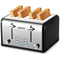 Toaster 4 Slice, Geek Chef Stainless Steel Extra-Wide Slot Toaster with Dual Control Panels of Bagel/Defrost/Cancel…