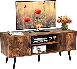 Tangkula Mid-Century Modern TV Stand for TVs up to 55-Inch, Boho TV Console with 2 Storage Cabinet & 2 Open Shelf, Cable Holes, Home Media Entertainment Center for Living Room (Rustic Brown)
