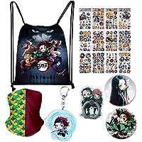 Demon Slayer: Kimetsu no Yaiba Gift Set-1 Pack Demon Slayer Drawstring Bag Backpack/12 Sheet of Stickers/2 Button Pins/2…