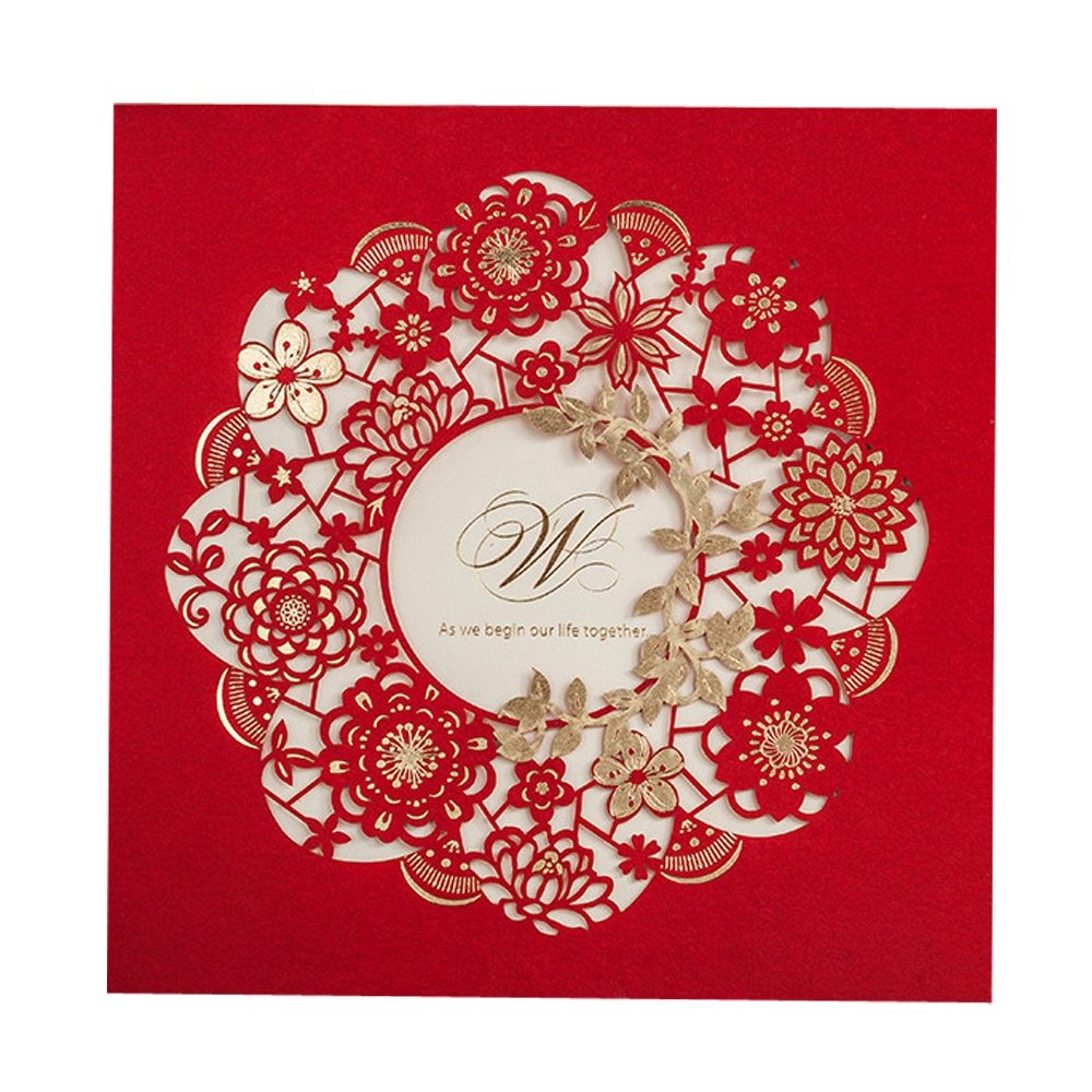 Amazon.com: Everyshine Red Flowers Wedding Invitations Gold Foil ...