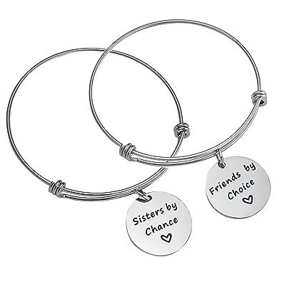 15f407529f91 BESPMOSP - Juego de 2 pulseras con colgantes de la marca Chance Friends por  Choice Bangle  Amazon.es  Joyería