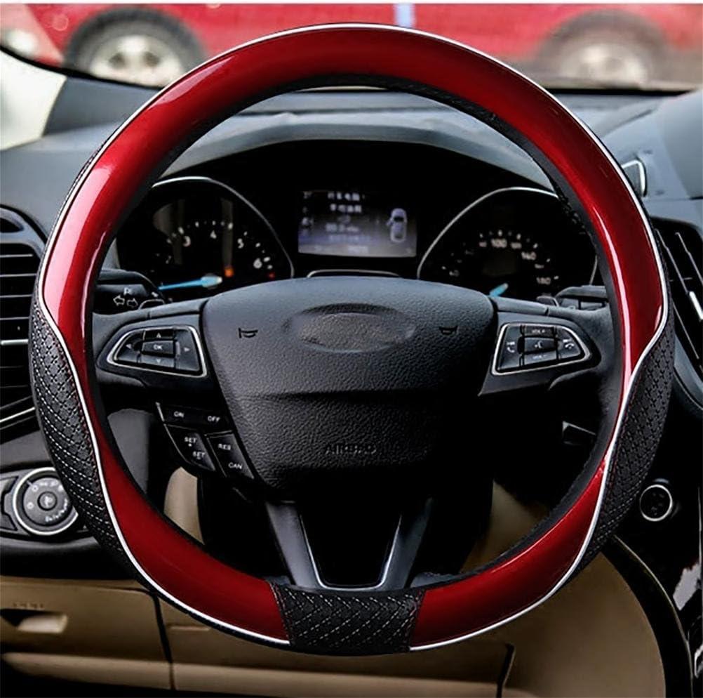 Yayue Universal Sport Lenkradbezug Echt Leder Lenkradhülle Lenkradabdeckung Lenkradschoner Auto Mit Stitching Atmungsaktiv 15 Zoll Red Sport Freizeit