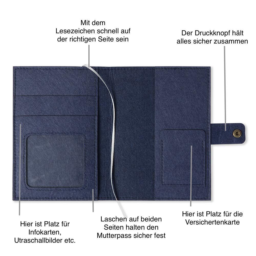 Design H/ülle f/ür deutschen Mutterpass mit Druckknopfverschluss Mutterpassh/ülle Sterne aus Filz blau