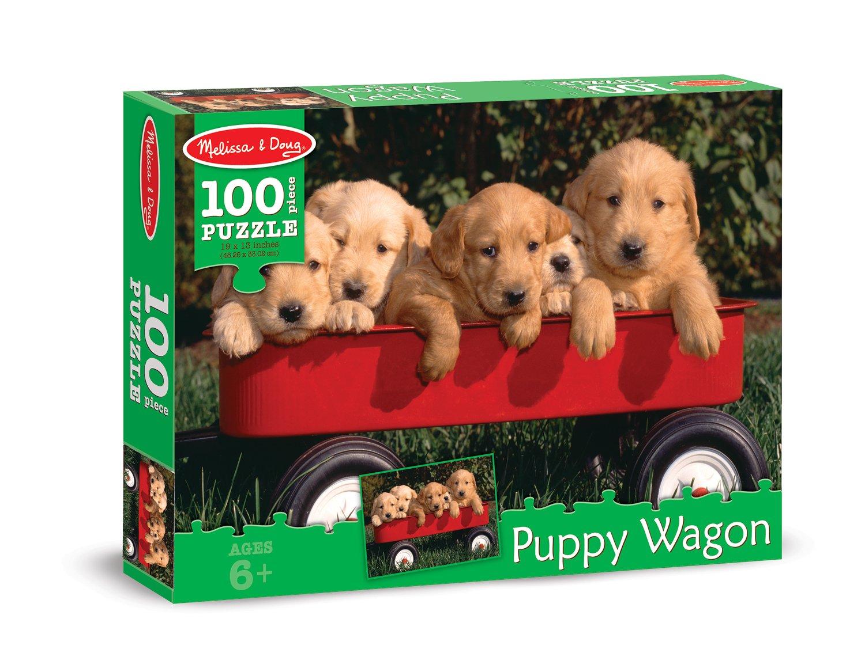 Melissa & Doug Puppy Wagon Cardboard Jigsaw Puzzle, 100-Piece 8945