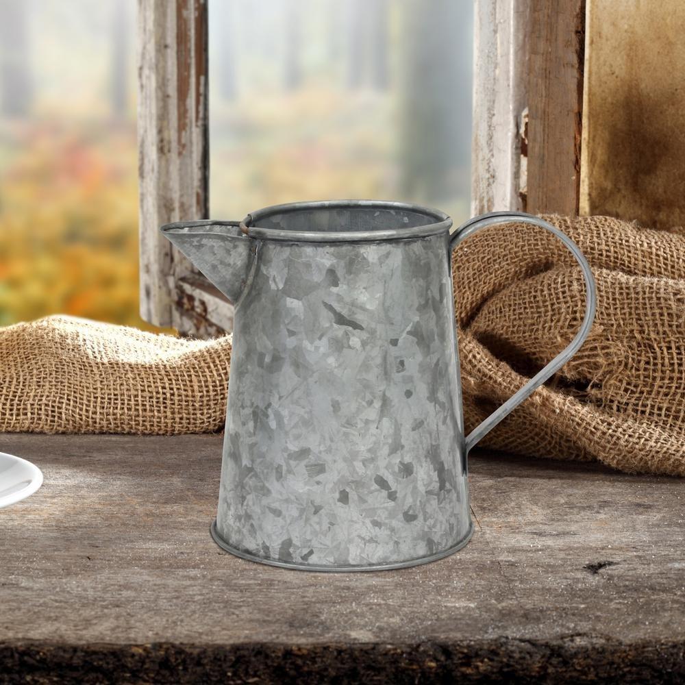 Stonebriar Farmhouse Small Antique Galvanized Metal Jug