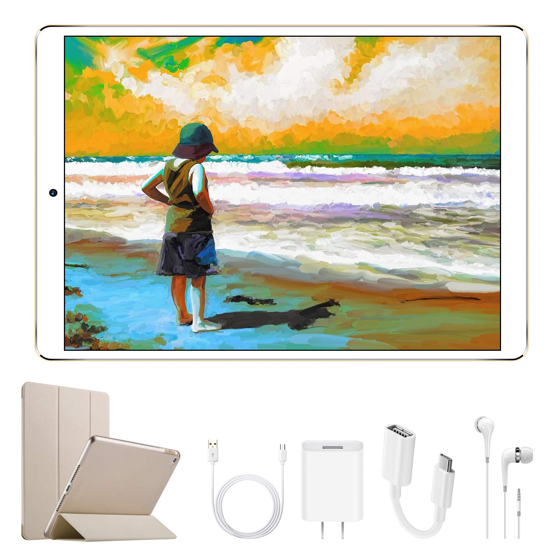 Tablette Tactile 10.1 Pouces 4G DUODUOGO Tablette PC Android 7 avec Dual SIM WiFi Quad Core 2Go RAM Disque Dur 32Go 5MP+8MP Caméra Intégrée Portable Débloqué 4G Tablettes tactiles Pas Cher G12(Or)