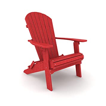 Merveilleux Poly Lumber Wood Folding Adirondack Chair   Fire Coral Red