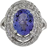 4.83 Carat Natural Blue Tanzanite and Diamond (F-G Color, VS1-VS2 Clarity) 14K White Gold Luxury Cocktail Ring for Women…