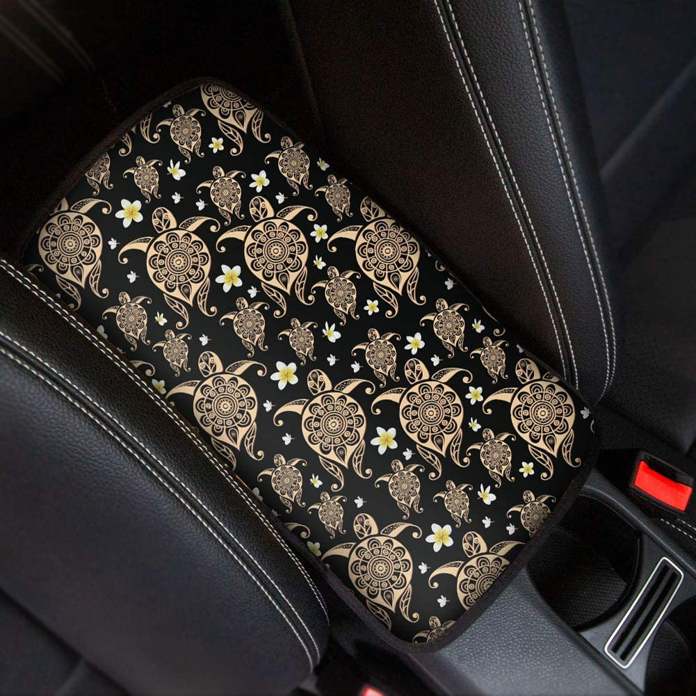 Colorful WELLFLYHOM Dog Paw Print Center Console Armrest Cover Seat Box Mat Auto Decorations Interior Fit Most Vehicle SUV Truck Sedan